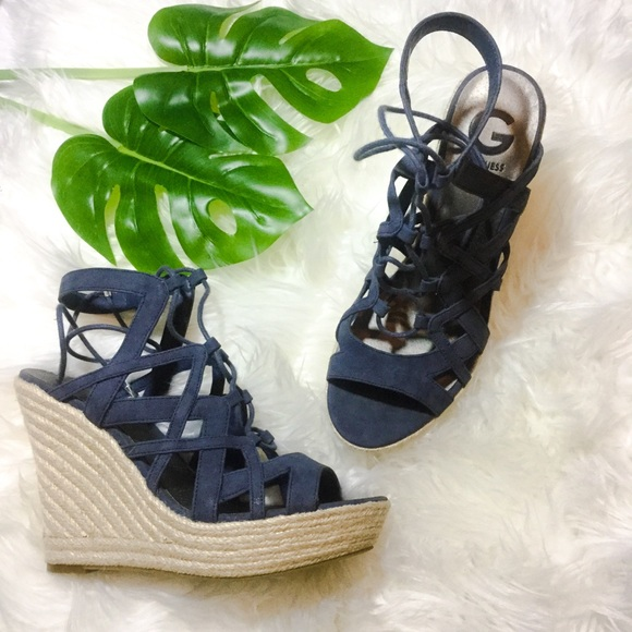 G by Guess Shoes - G by Guess Blue Lace Up Espadrille Wedges